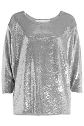 Iro Draped Sequined Top Silver