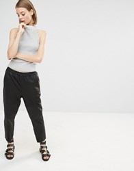 Selected Elisabeth Cropped Leather Trousers Black