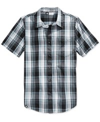 Lrg Men's Rc Plaid Poplin Short Sleeve Shirt Black