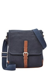 Men's Fossil 'Davis' Canvas Messenger Bag Blue Navy