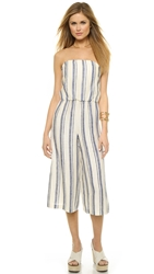 Alice Olivia Lucie Bustier Gaucho Jumpsuit White Blue