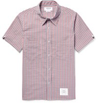 Thom Browne Slim Fit Striped Seersucker Shirt Red