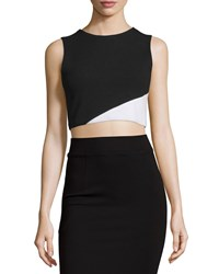 Alice Olivia Cathleen Ponte Colorblock Crop Top Black White White Black