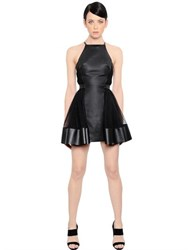 David Koma Nappa Leather And Tulle Dress