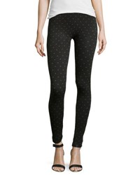 Neiman Marcus Fleece Lined Polka Dot Leggings Black