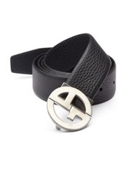 Giorgio Armani Grained Leather Belt Black