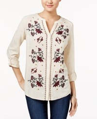 Styleandco. Style Co. Floral Embroidered Shirt Only At Macy's Floral Oatmeal