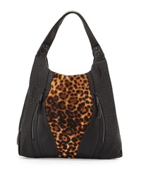 French Connection Ollie Calf Hair Tote Bag Black Leopard