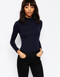 Asos The Polo Neck With Long Sleeves Navy