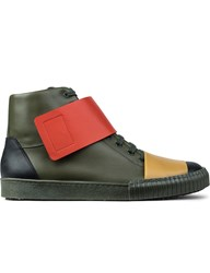 Olive Color Blocking Hi Top Lace Up Sneakers