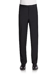 Saks Fifth Avenue Slim Fit Solid Wool Trousers Black