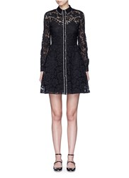 Valentino Piped Trim Lace Western A Line Dress Black