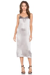 Atm Anthony Thomas Melillo Deev V Slip Dress Metallic Silver