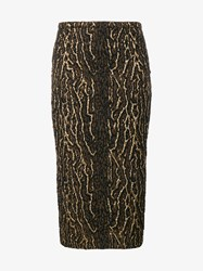 Rochas Leopard Print Embroidered Pencil Skirt Brown Leopard Black