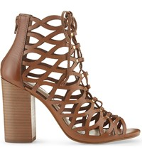 Aldo Edigolia Leather Heeled Sandals Cognac
