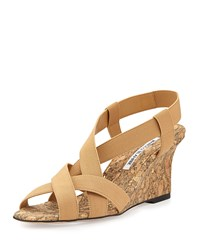 Lastiwe Strappy Elastic Cork Wedge Sandal Nude Manolo Blahnik Brown