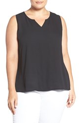 Sejour Plus Size Women's Split Neck Georgette Shell Black