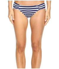 Tommy Bahama Breton Stripe Side Shirred Hipster Bikini Bottom Mare Navy White Women's Swimwear Gray