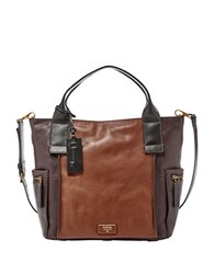 Fossil Emerson Leather Satchel Multi Brown