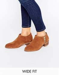 Asos Aldgate Wide Fit Leather Ankle Boots Chesnut Tan