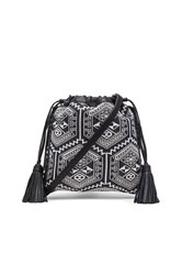 Rebecca Minkoff Moto Drawstring Crossbody Bag Black And White