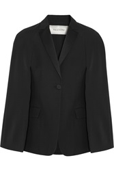 Valentino Silk Satin Trimmed Wool Blend Crepe Cape Black