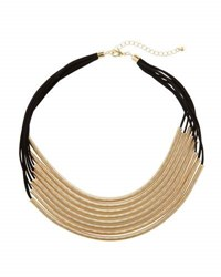 Panacea Layered Multi Row Spring Coil Necklace Black