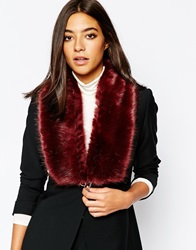 Reiss Faux Fur Scarf With Chain Burgundy