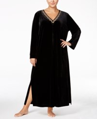 Thalia Sodi Plus Size Scroll Trimmed Zip Front Caftan Only At Macy's Deep Black