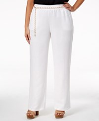 Jm Collection Plus Size Linen Belted Pants Only At Macy's Bright White