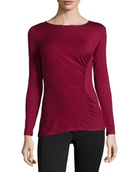 Neiman Marcus Long Sleeve Ruched Jersey Tee Wine