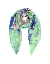 Laura Biagiotti Floral Print And Signature Silk Square Scarf Green