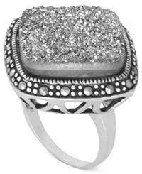 Genevieve And Grace Sterling Silver Ring Marcasite Druzy 13 3 8 Ct. T.W. Square Ring