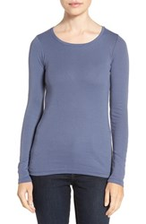 Caslonr Women's Caslon Long Sleeve Scoop Neck Cotton Tee Blue Shadow