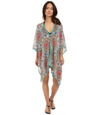 Red Carter Renaissance Kimono Cover Up Sea Green Women's Swimwear