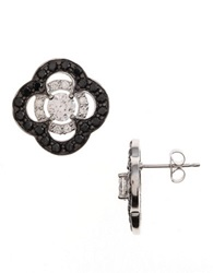 Lord And Taylor Sterling Silver And Crystal Clover Stud Earrings Black