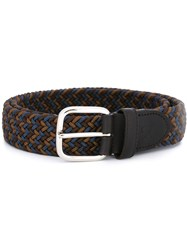 Canali Braided Elastic Belt Brown