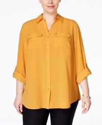 Charter Club Plus Size Utility Shirt Only At Macy's Honey Glaze