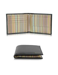 Paul Smith Men's Black Leather And Signature Stripe Interior Billfold And Coin Wallet