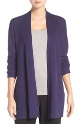 Eileen Fisher Petite Women's Rib Knit Straight Open Front Cardigan Dark Night