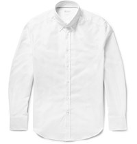 Brunello Cucinelli Slim Fit Button Down Collar Cotton Oxford Shirt White