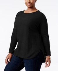 Charter Club Plus Size Cashmere Shirttail Sweater Only At Macy's Classic Black