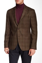 Ike Behar Plaid Notch Lapel Two Button Wool Sportcoat Brown