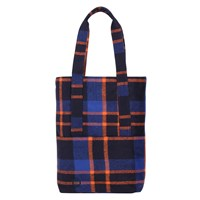 Mi Pac Picnic Check Tote Bag Navy Orange