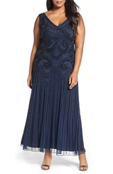 Pisarro Nights Plus Size Women's Embellished Double V Neck Gown