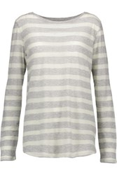 Majestic Striped Cotton And Cashmere Blend Top Light Gray