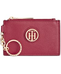 Tommy Hilfiger Signature Leather Coin Purse Cabernet