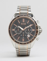 Hugo Boss Driver Stainless Steel Chronograph Watch In Mixed Metal Silver