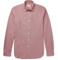 Incotex Kurt Slim Fit Puppytooth Cotton Shirt Burgundy