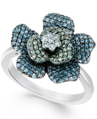 Wrapped In Love Multicolor Diamond Flower Ring 1 Ct. T.W. In 14K White Gold